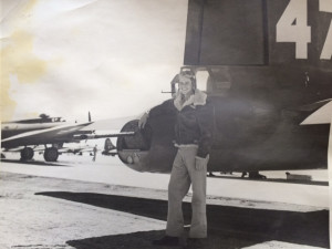 Jim Morris at the tail of a B-17. For more photos, visit the Hometown Heroes facebook page.