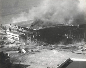 Hangar burning at Ewa Field on December 7, 1941.