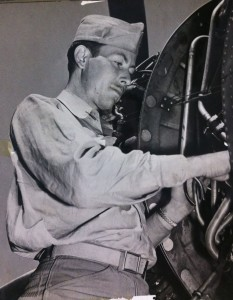 Gene working on an aircraft engine during World War II.