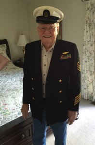 Russ Jenkins still fits into his Navy uniform at age 90.