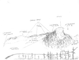 "Joe Sakato's hand drawn map shows where the ""Lost Battalion"" was when rescued by the 442nd RCT."