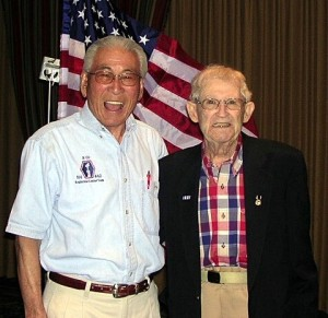"Lawson Sakai with Marty Higgins, one of the 211 ""Lost Battalion"" soldiers rescued by the 442nd RCT."