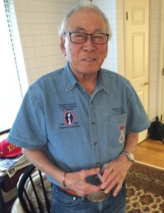92-year-old Lawson Sakai on the day of our interview. CLICK HERE for a short video of Mr. Sakai explaining how he was wounded on October 28, 1944.