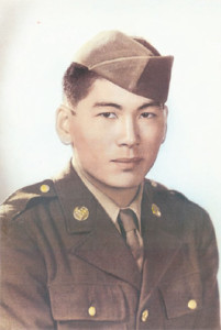 Lawson Sakai as a member of the 442nd Regimental Combat Team