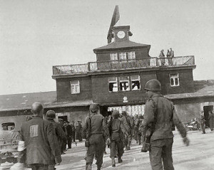 American soldiers enter Buchenwald Concentration Camp in May, 1945 (U.S. Holocaust Memorial Museum)