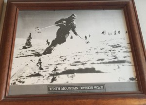 Dick skiing during training at Camp Hale during World War II.
