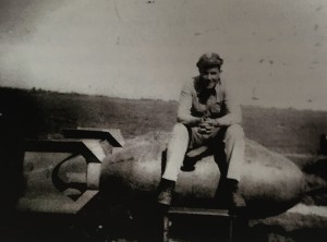 Cal sitting on a bomb.