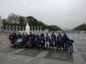 Bob and other veterans at the National World War II Memorial with Honor Flight Southern Nevada (photo by Scott Majewski)