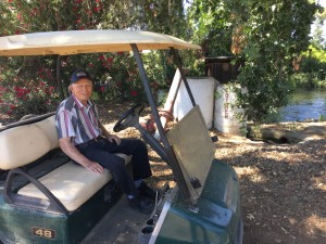 Roy Cotner on his golf cart in his Sanger, CA orange grove. For more photos, visit the Hometown Heroes facebook page.