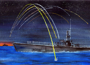 A crewmember's painting of the submarine USS Sennet engaged with a Japanese ship in the Pacific.