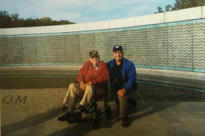 Al Peguero at the National World War II Memorial in 2014. Central Valley Honor Flight took him to Washington, D.C., with son Alfred serving as his guardian.