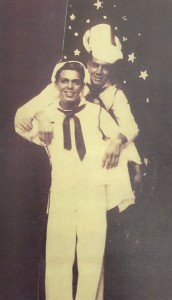 Cousins Al Peguero (right) and Lino Garcia during their days on the USS Reno.