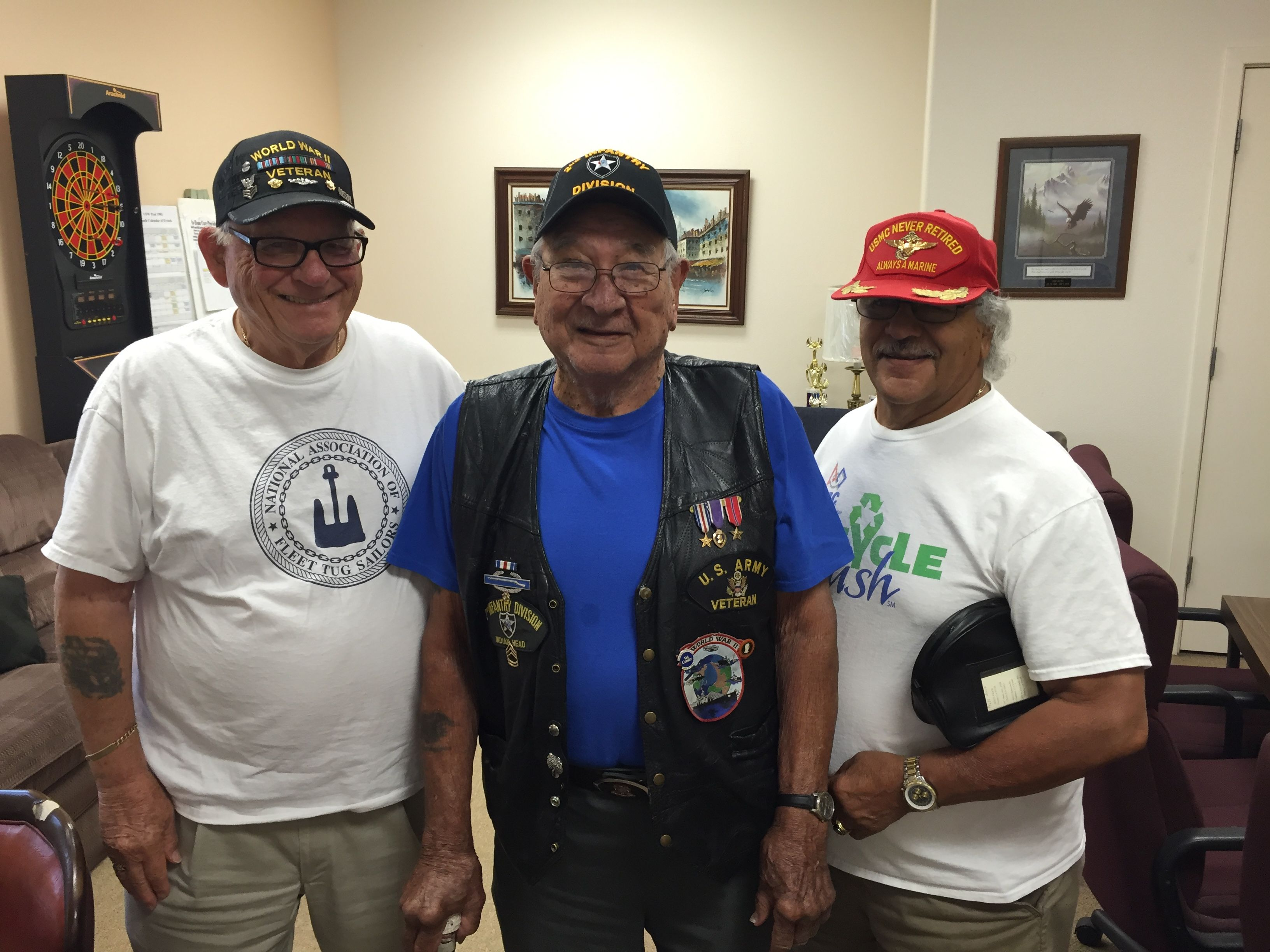 Martin (middle) at VFW Post 1981 in Madera with fellow veterans Mike De Cesare (left) and Bill Jones. For more photos, visit the Hometown Heroes facebook page.