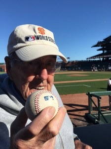 96-year-old Alberto Bertoli watching the San Francisco Giants at AT&T Park. For more photos, visit the Hometown Heroes facebook page.