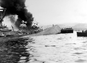 The USS Oklahoma on December 7, 1941