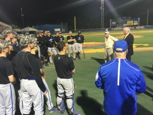 General Titus talking to Air Force Academy baseball players in Fresno, CA in 2016.